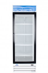 réfrigérateur commercial 1 porte battante vitrée 26 pouces de large