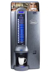 """Bistro RL, machine distribuitrice à café avec lait, disponible en couleur """"silver"""" ou """"titanium""""."""