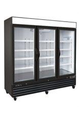 Black commercial freezer 3 glass swinging doors 81