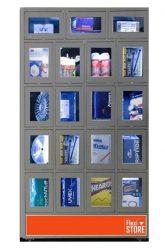 Compagnon est un distributeur automatique de style casier qui complimente la FlexiStore avec des objets de différentes tailles.