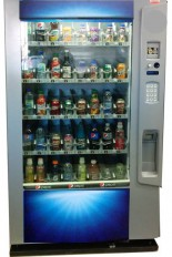 Vendo Vue 40 Blueline, a refurbished vending machine for cold drinks from Distomatic.