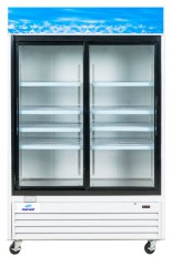 Réfrigérateur commercial 2 portes coulissantes vitrées 53 pouces de large