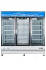 Réfrigérateur commercial 3 portes battantes vitrées 80 pouces de large