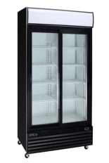 Black commercial refrigerator 2 glass sliding doors 45