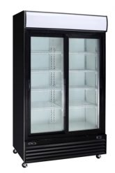 Black commercial refrigerator 2 glass sliding doors 53