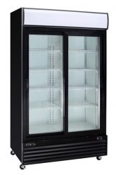 Black commercial refrigerator 2 glass sliding doors 53
