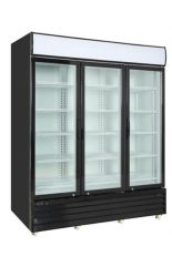 Black commercial refrigerator 3 glass swinging doors 79