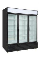 Black commercial refrigerator 3 glass swinging doors 79