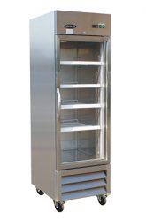 Réfrigérateur commercial inox 1 porte battante vitrée 27
