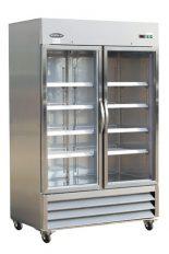 Réfrigérateur commercial inox 2 portes battantes vitrées 54 pouces de large