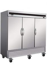 Réfrigérateur commercial inox 3 portes battantes fermées 81 pouces de large