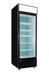 """Réfrigérateur commercial noir 1 porte battante vitrée 28"""""""