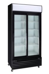 Réfrigérateur commercial noir 2 portes coulissantes vitrées 45