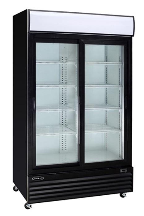r frig rateur noir 2 portes coulissantes vitr es 53 peu profond distomatic. Black Bedroom Furniture Sets. Home Design Ideas